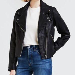 Levis Womens Leather Moto Jacket Sz L